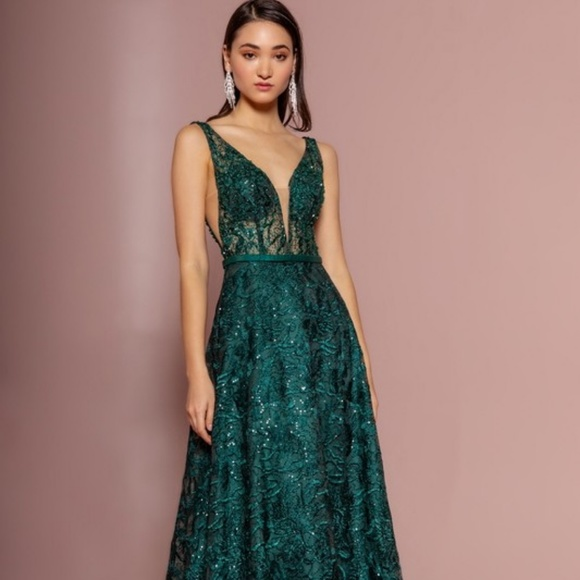 8ee39529ce2 PARTY GLITTER FROM A-LINE GOWN DRESS GL2634 GREEN. Boutique. GLS COLLECTIVE